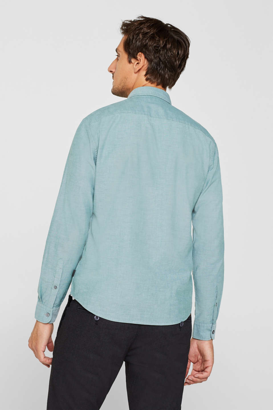Top with a button-down collar, DARK GREEN, detail image number 3