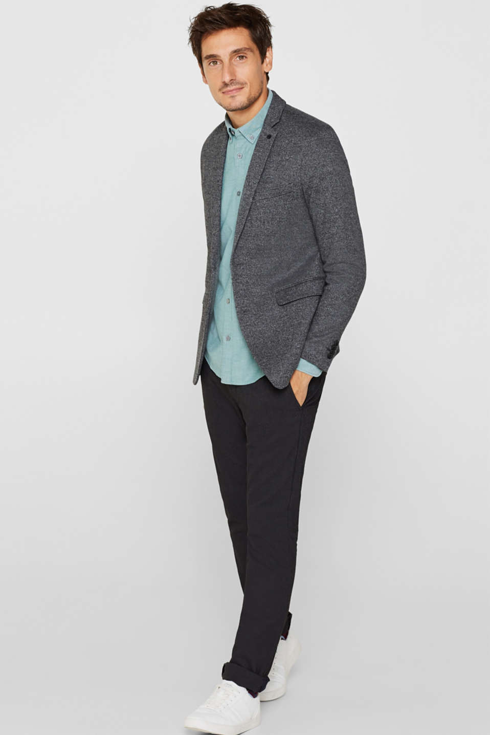 Top with a button-down collar, DARK GREEN, detail image number 1