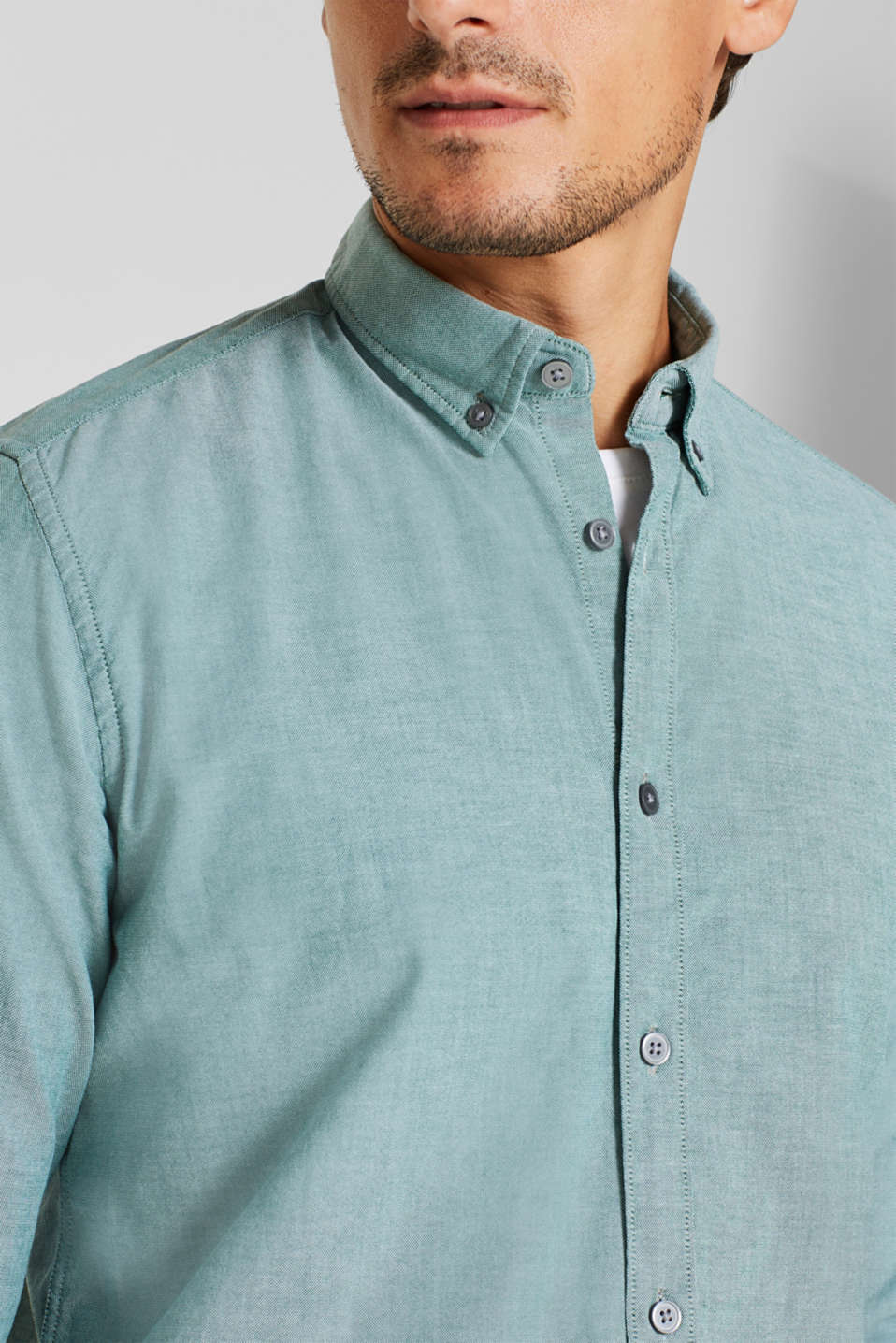 Top with a button-down collar, DARK GREEN, detail image number 2