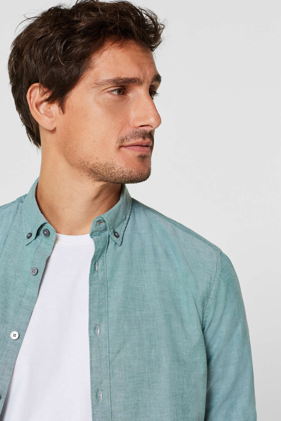 Top with a button-down collar, DARK GREEN, detail image number 5
