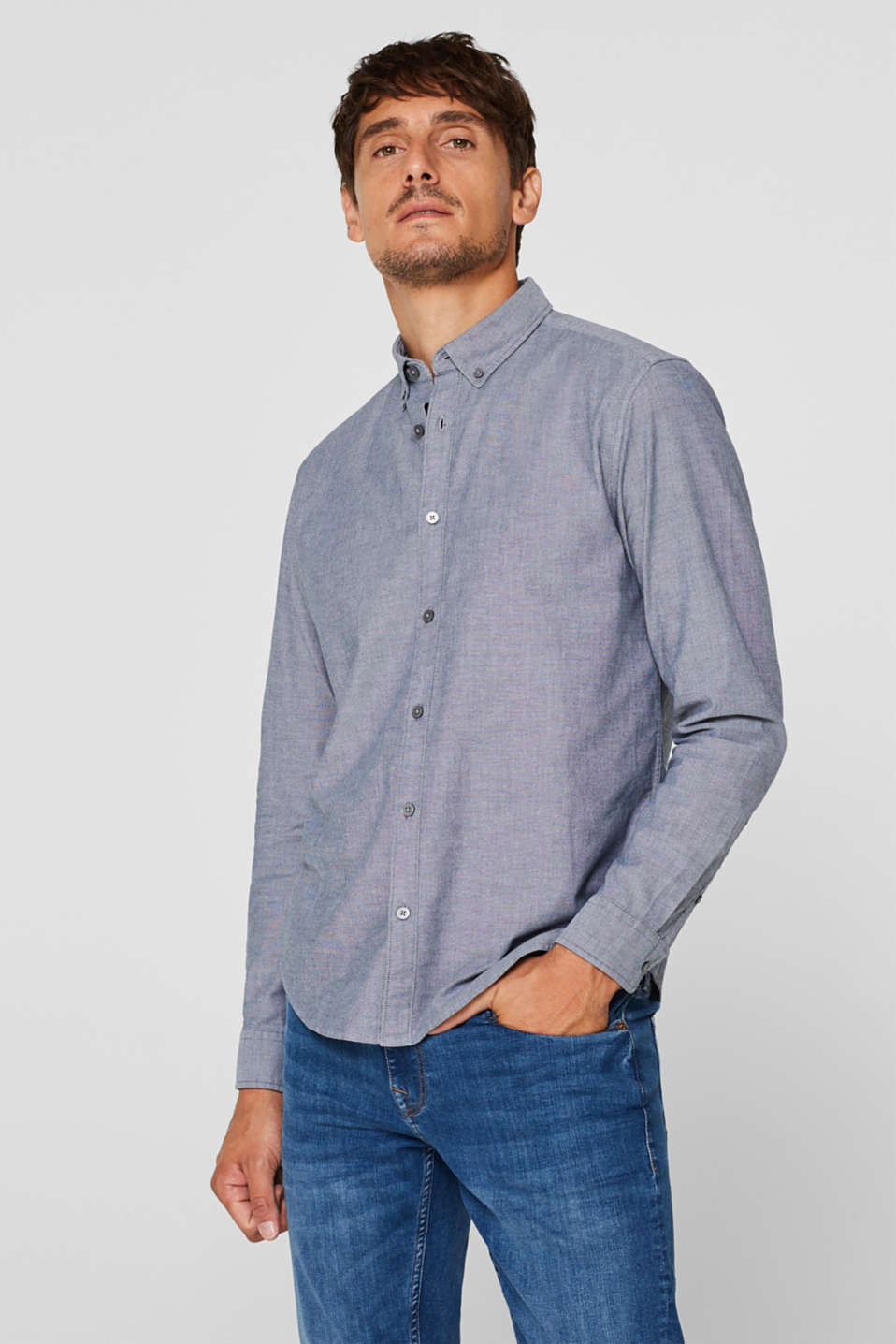 Top with a button-down collar, NAVY, detail image number 0