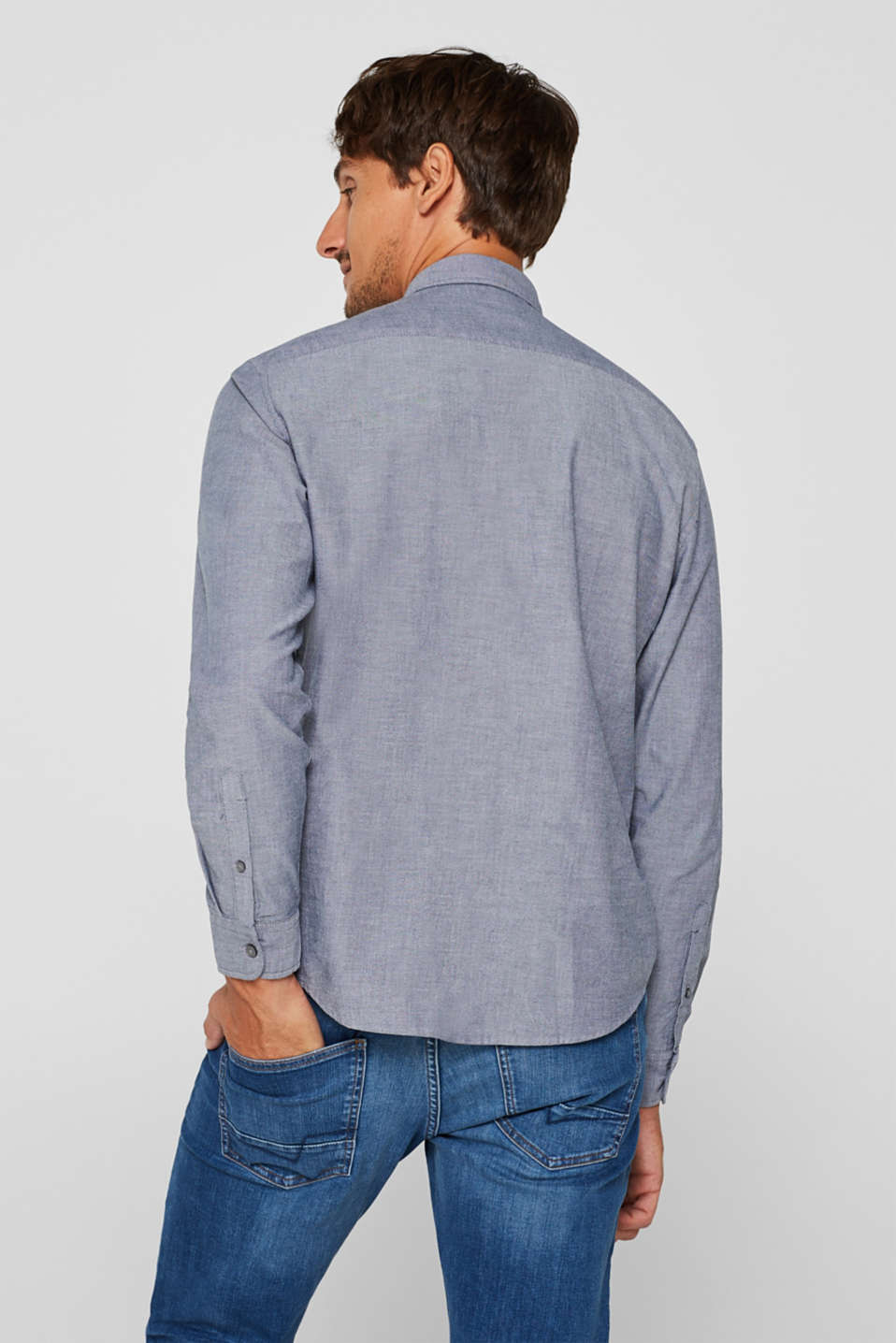 Top with a button-down collar, NAVY, detail image number 3