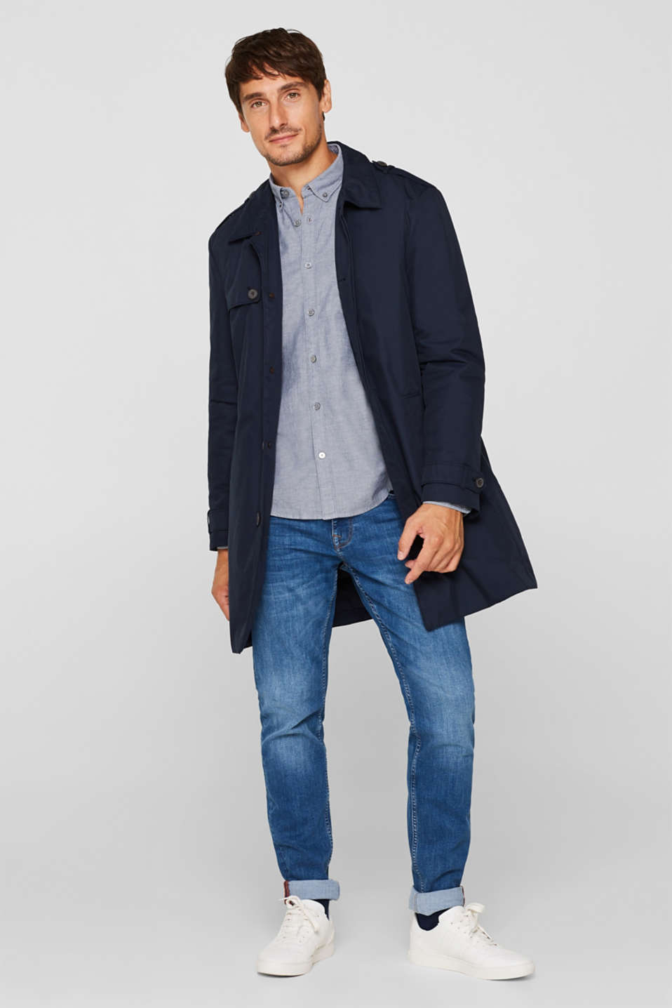 Top with a button-down collar, NAVY, detail image number 1