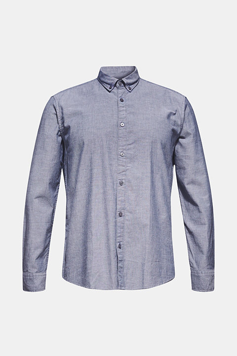 Top with a button-down collar