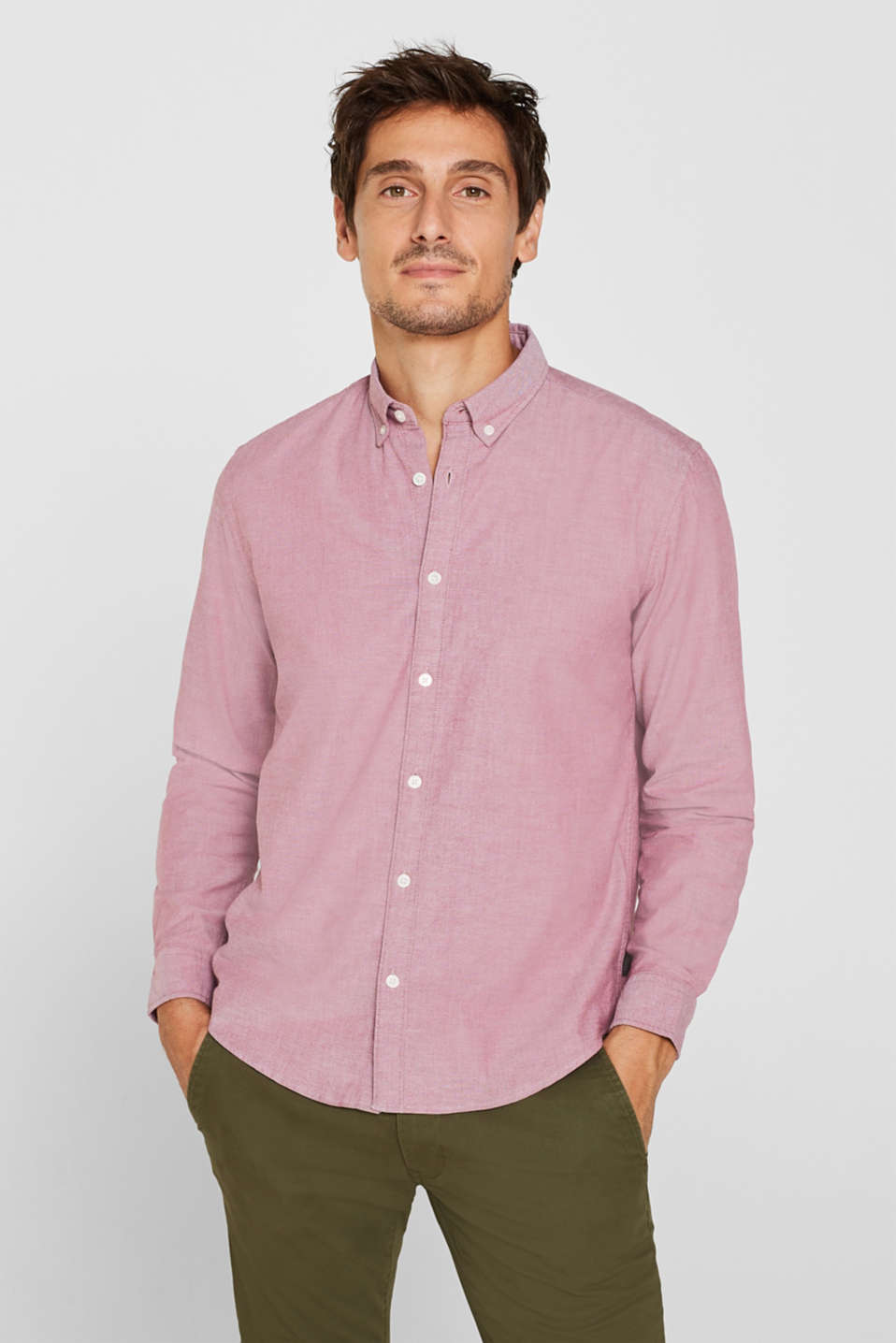 Top with a button-down collar, GARNET RED, detail image number 0