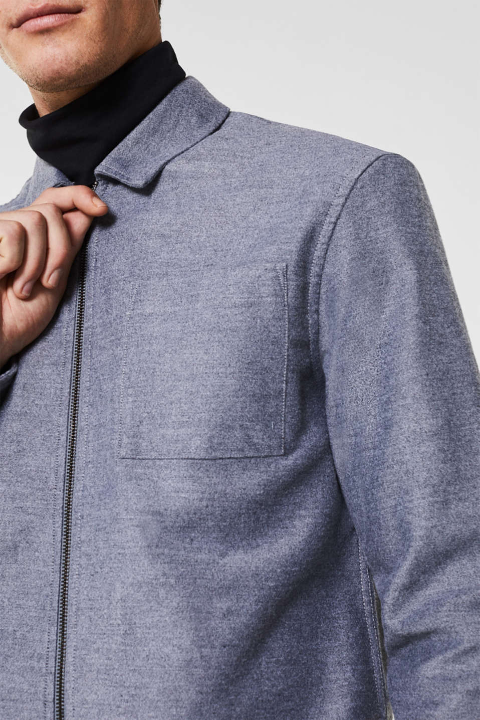 Flannel shirt jacket with THERMOLITE®, GREY, detail image number 2