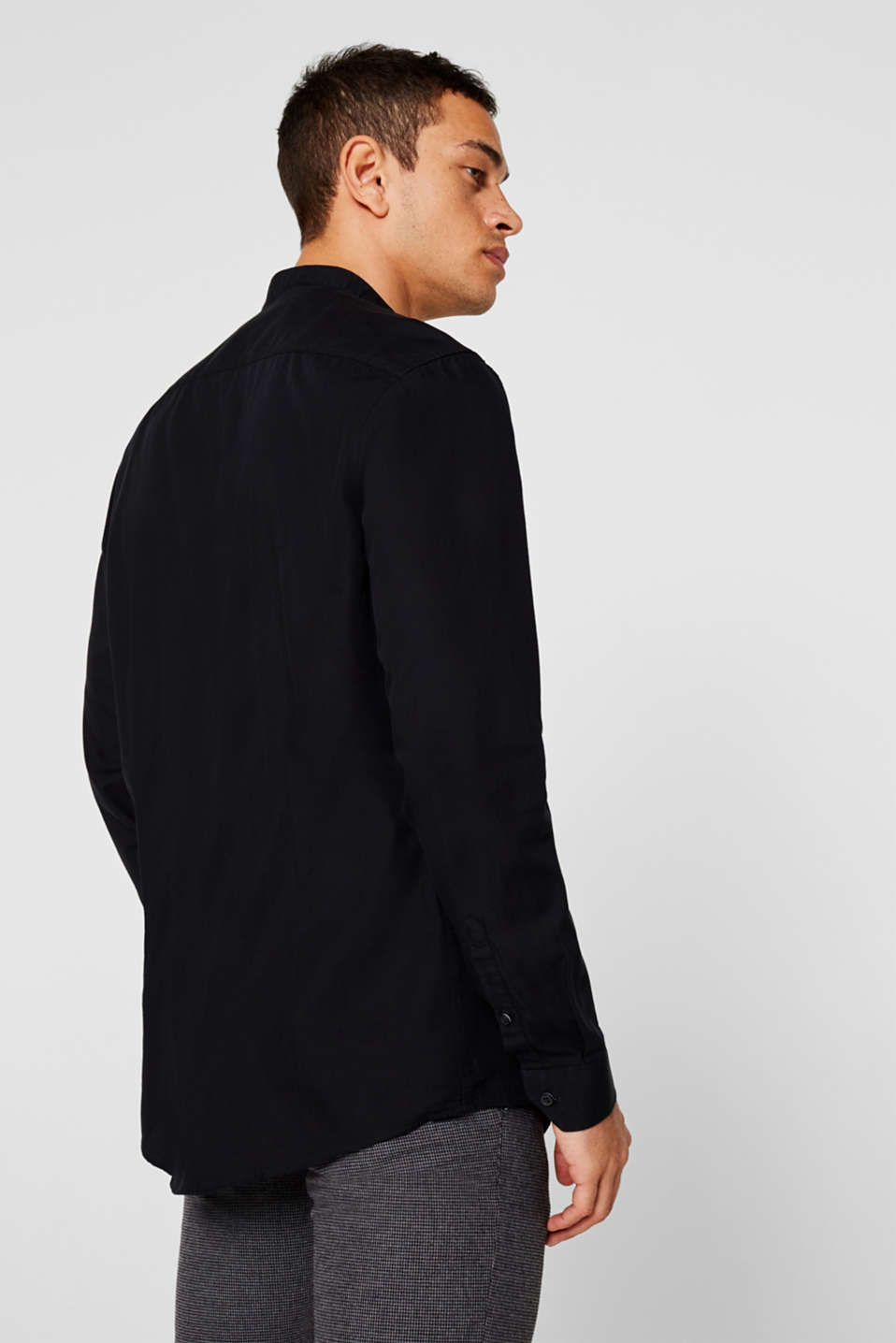 With wool: top with a stand-up collar, BLACK, detail image number 3