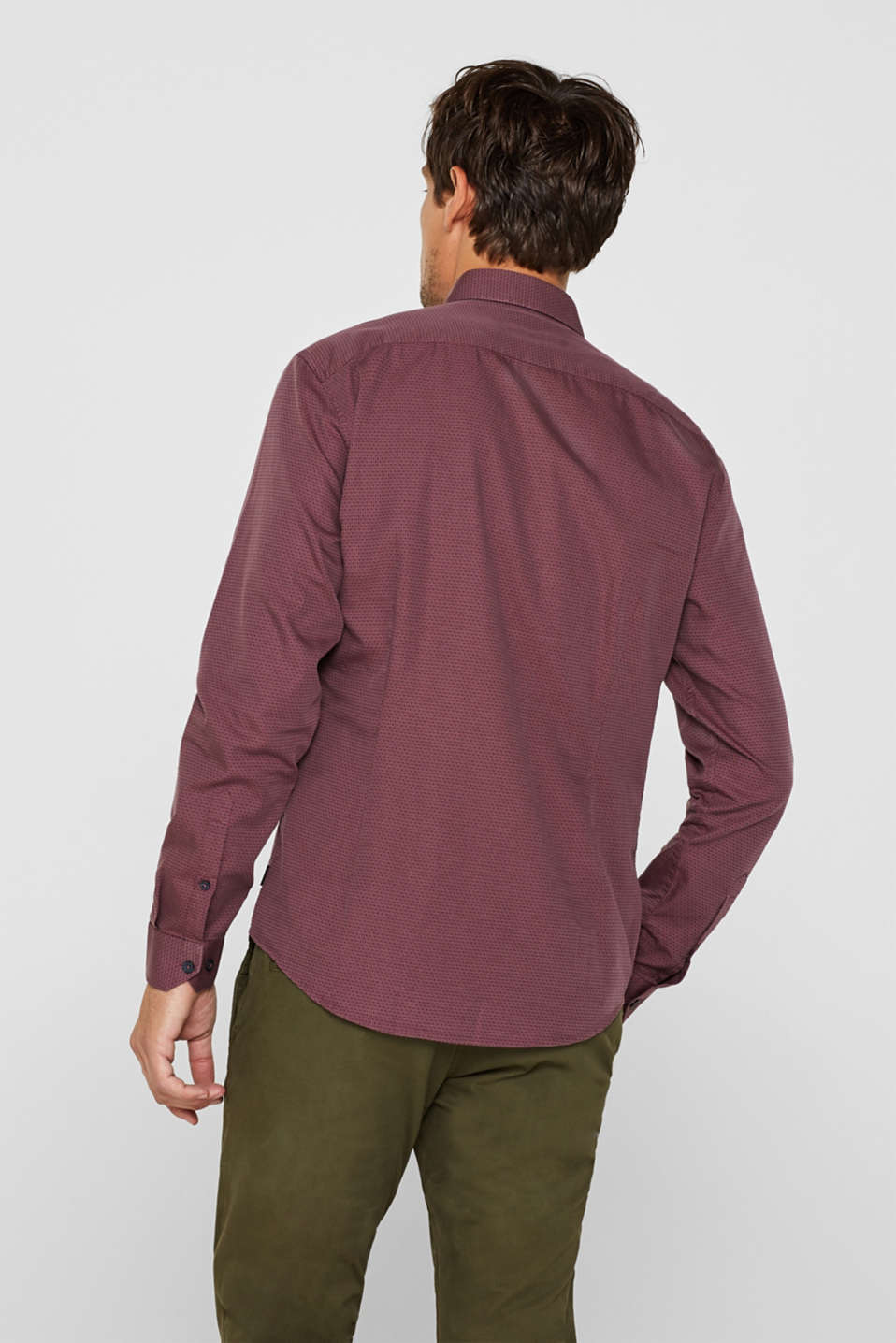 With wool: Top with a micro print, GARNET RED, detail image number 3