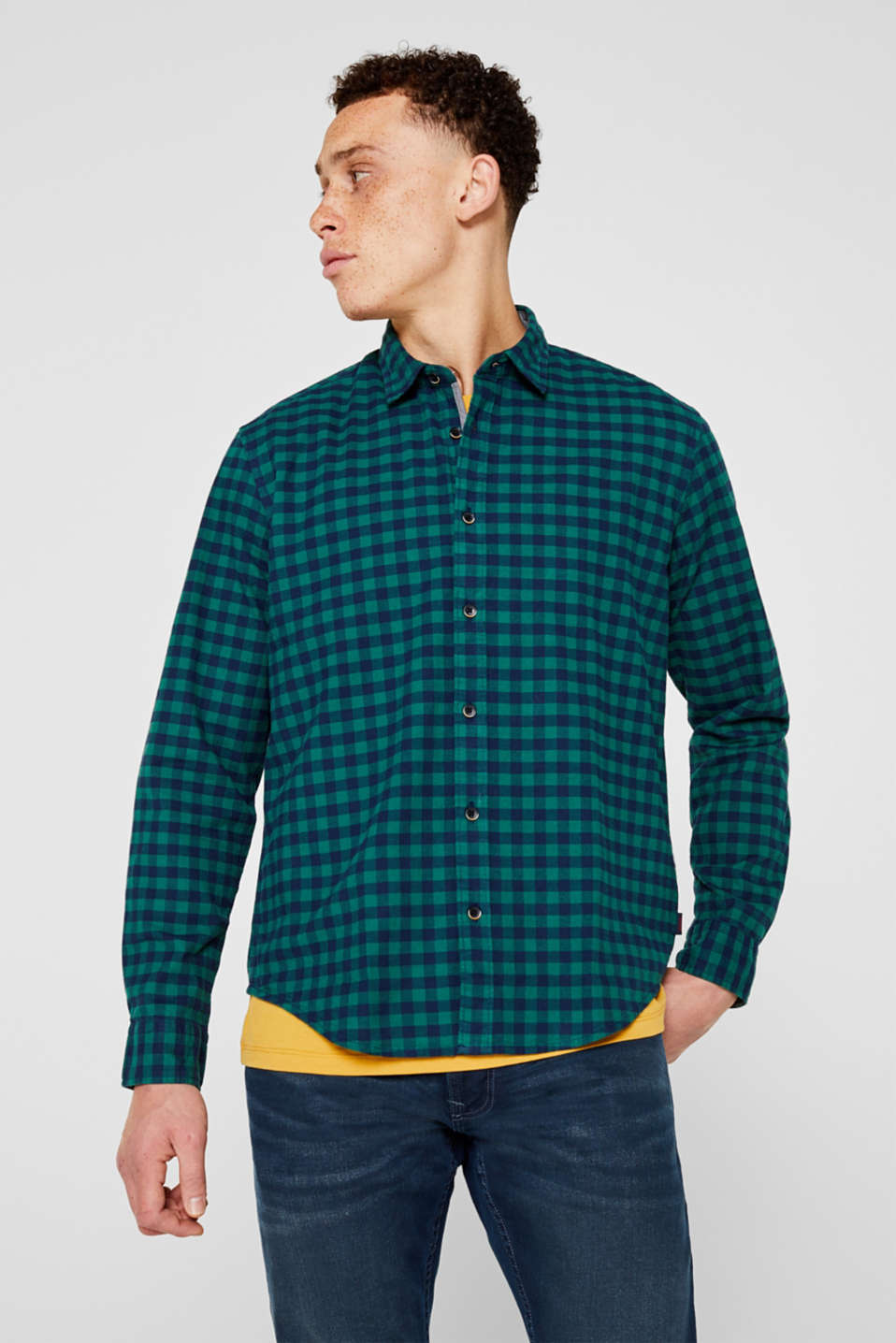 Flannel shirt with checks, made of stretch cotton, DARK GREEN, detail image number 0
