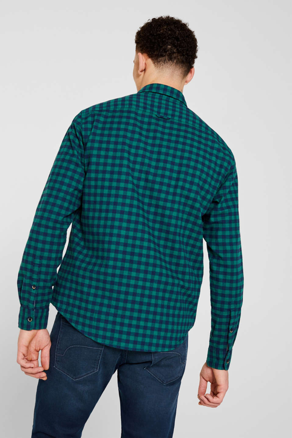 Flannel shirt with checks, made of stretch cotton, DARK GREEN, detail image number 3