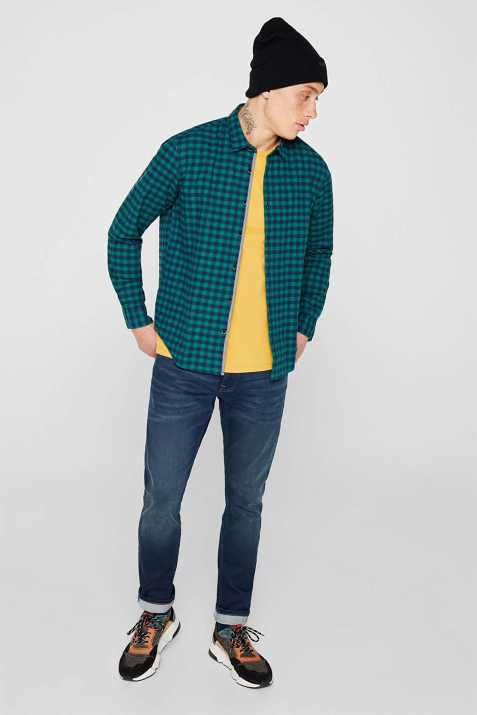Flannel shirt with checks, made of stretch cotton, DARK GREEN, detail image number 1