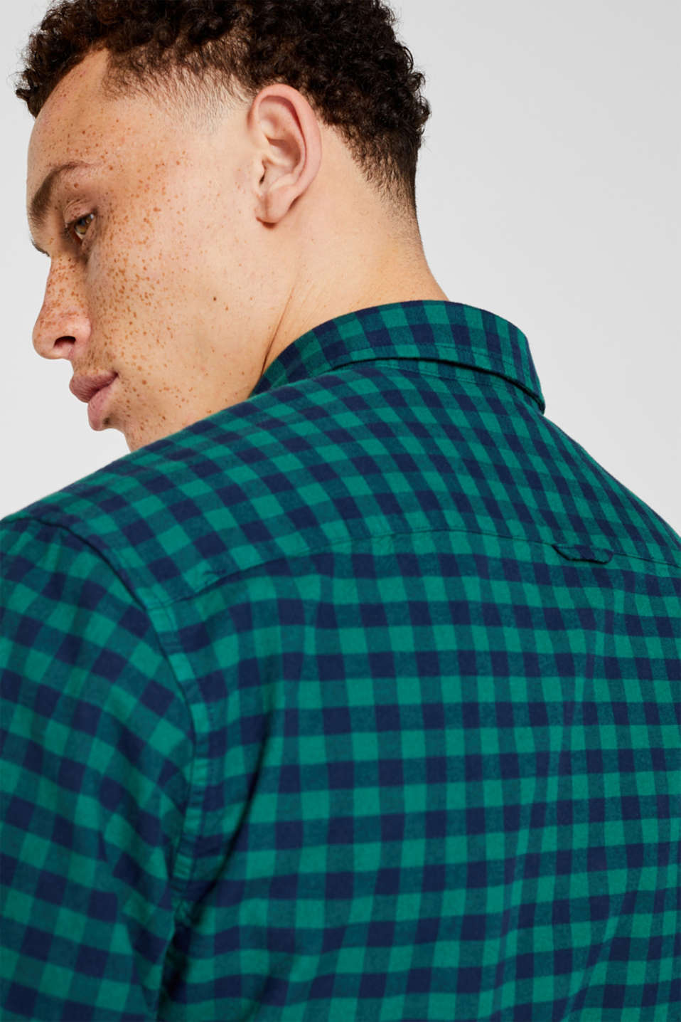 Flannel shirt with checks, made of stretch cotton, DARK GREEN, detail image number 2