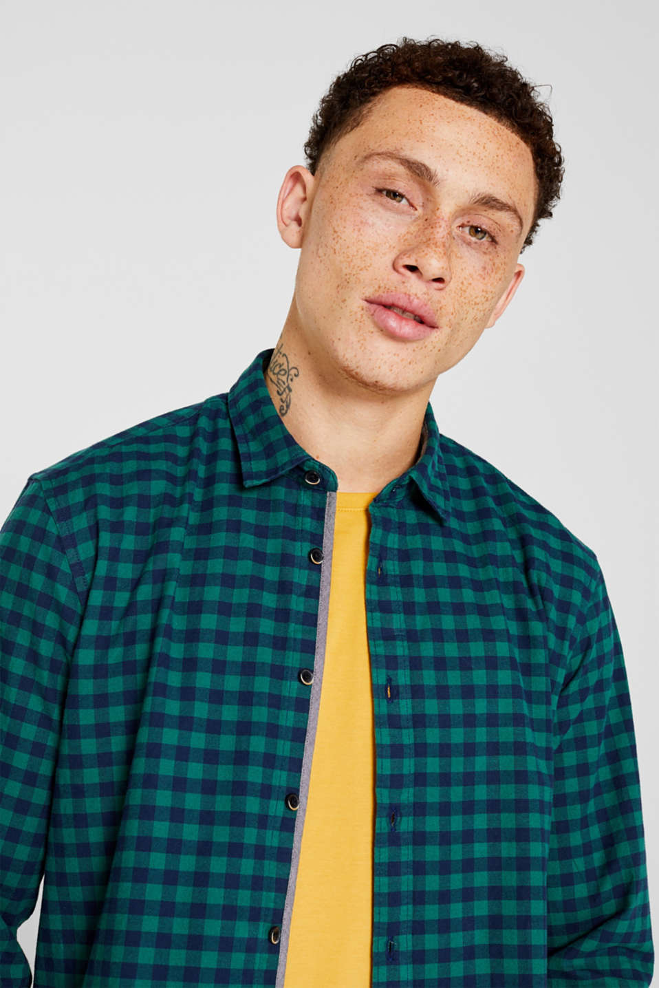 Flannel shirt with checks, made of stretch cotton, DARK GREEN, detail image number 5