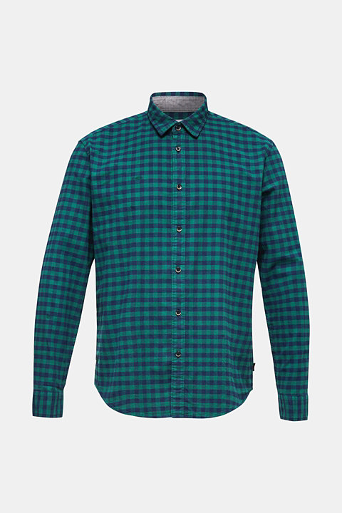 Flannel shirt with checks, made of stretch cotton