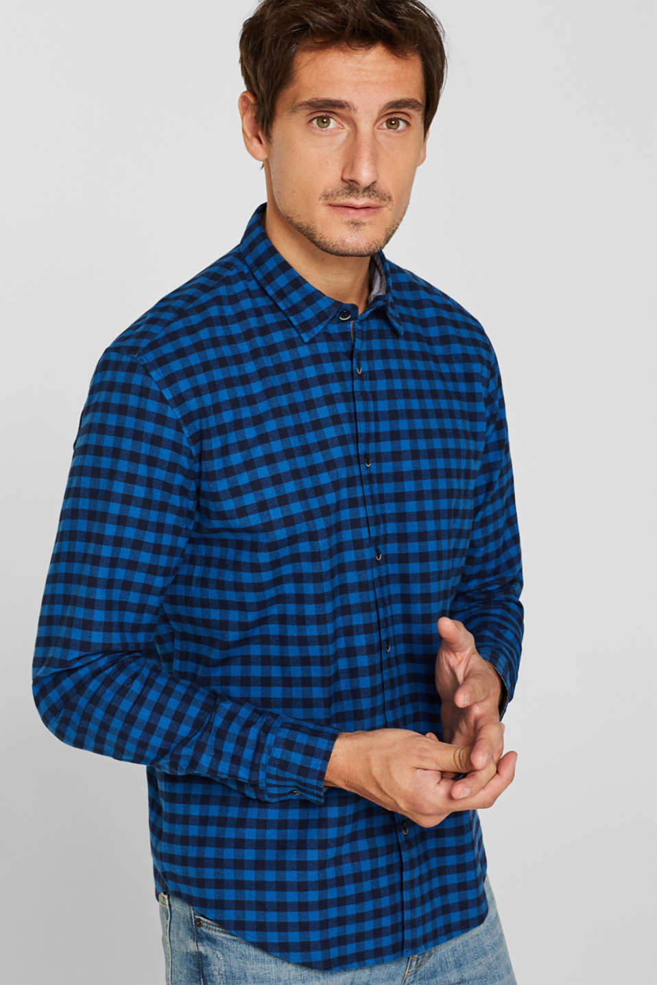Flannel shirt with checks, made of stretch cotton, NAVY, detail image number 0
