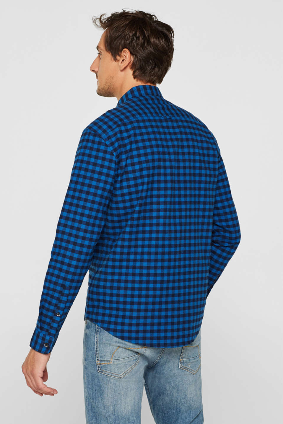Flannel shirt with checks, made of stretch cotton, NAVY, detail image number 3