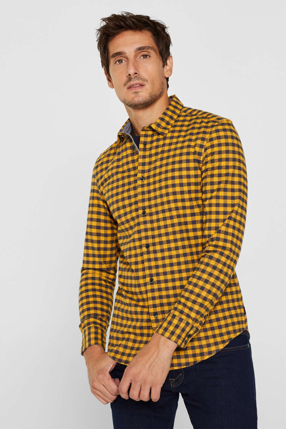 Esprit - Flannel shirt with checks, made of stretch cotton