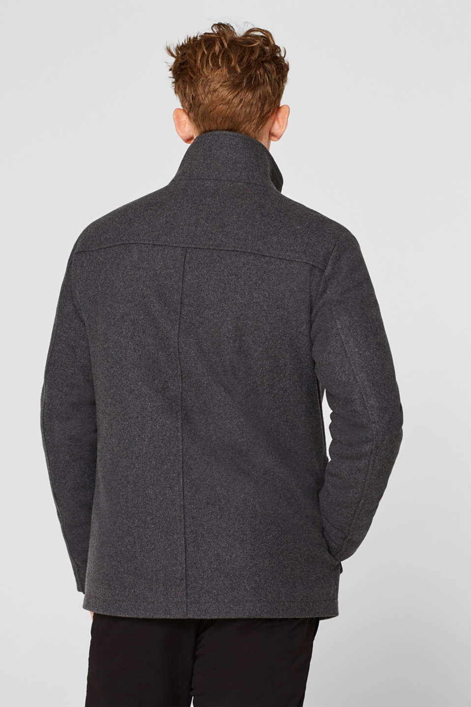 Wool blend: jacket with a quilted inlay, GREY, detail image number 3