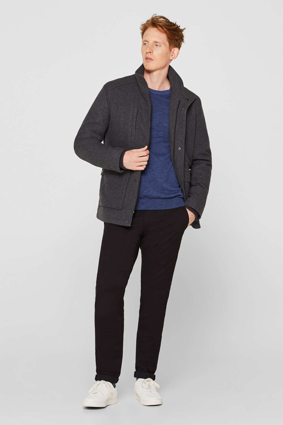 Wool blend: jacket with a quilted inlay, GREY, detail image number 1