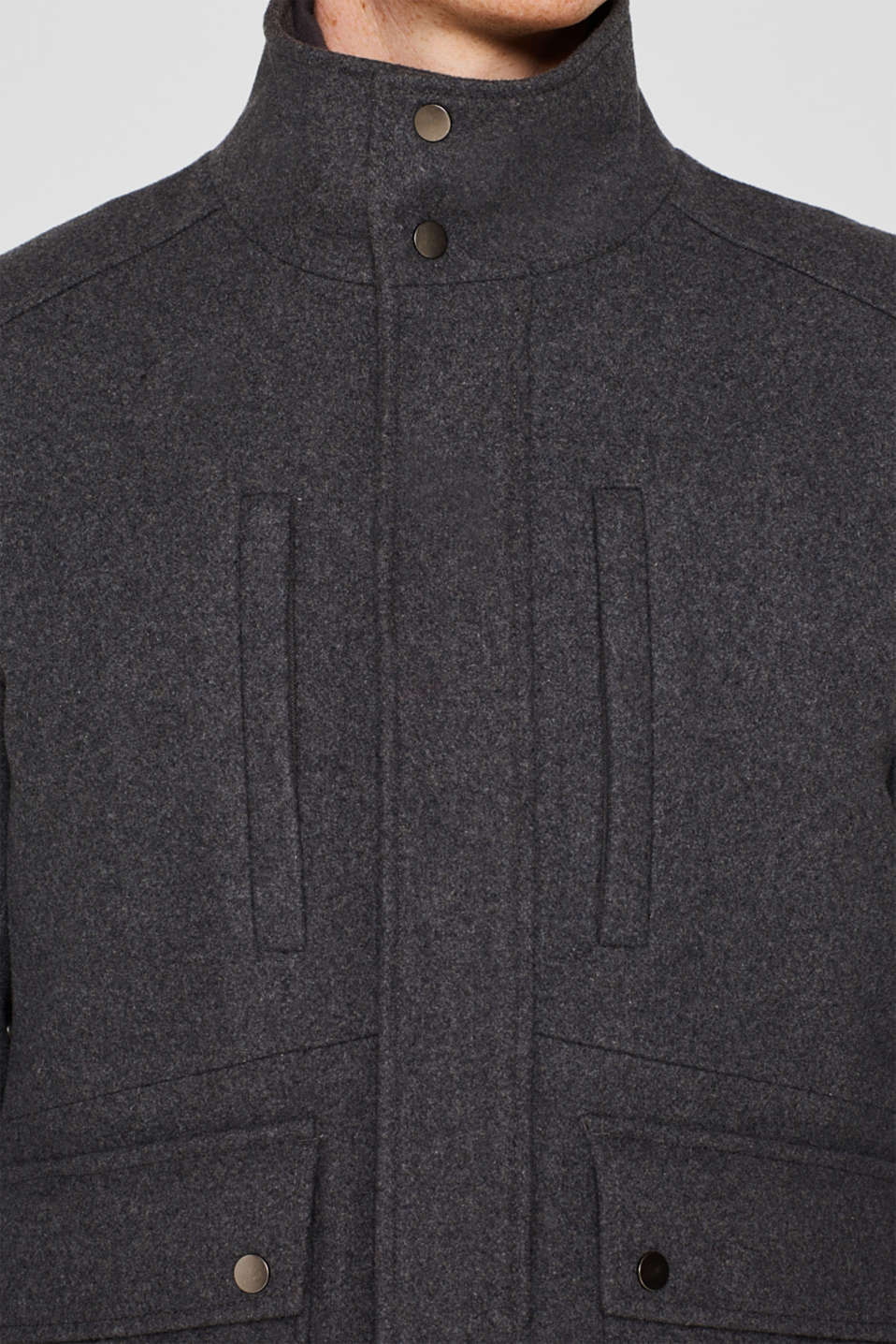 Wool blend: jacket with a quilted inlay, GREY, detail image number 2