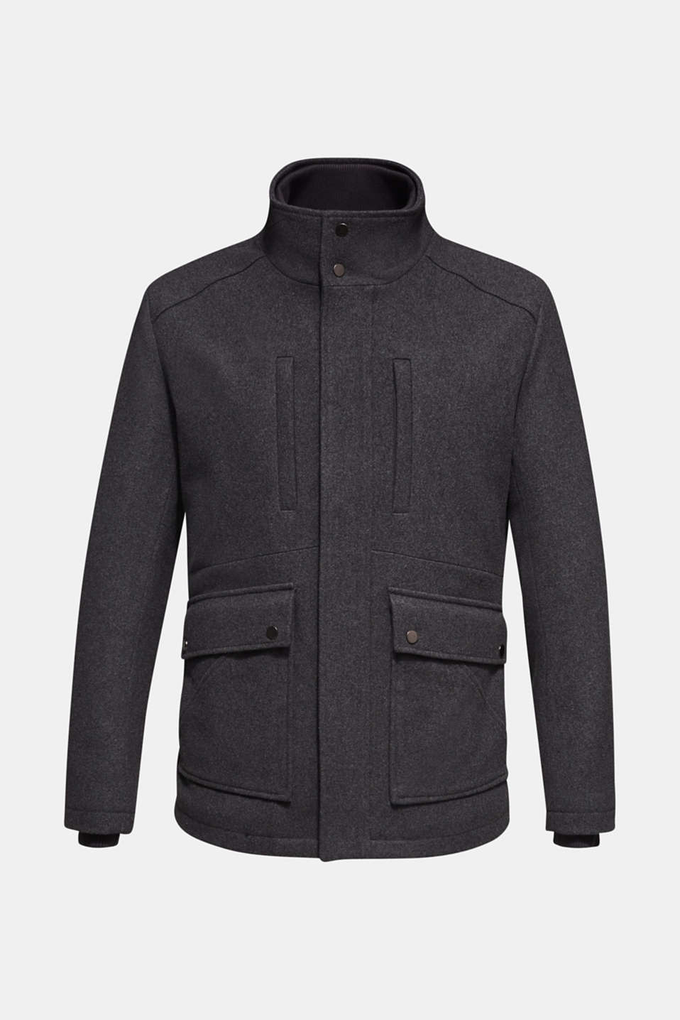 Wool blend: jacket with a quilted inlay, GREY, detail image number 6