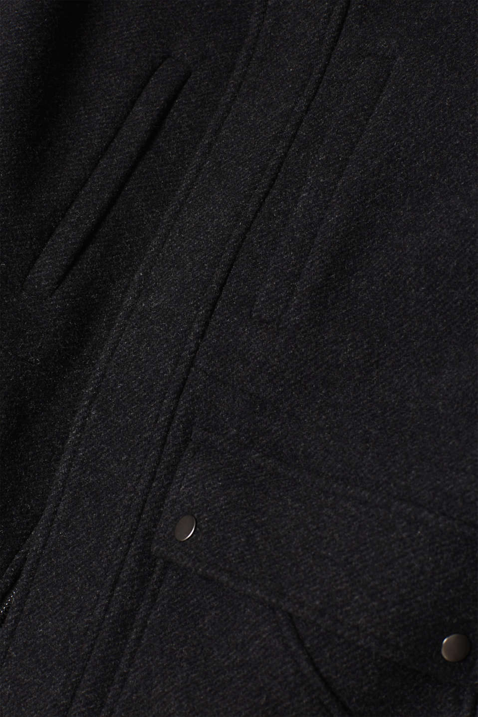 Wool blend: jacket with a quilted inlay, ANTHRACITE, detail image number 4