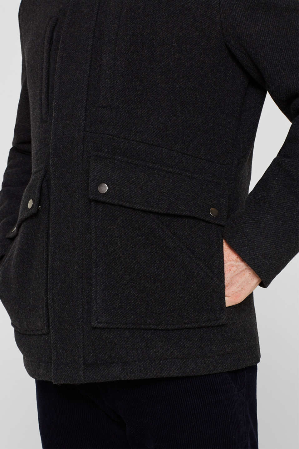 Wool blend: jacket with a quilted inlay, ANTHRACITE, detail image number 5