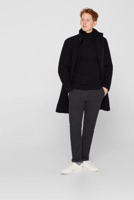 Blended wool: coat with a quilted insert, BLACK, detail