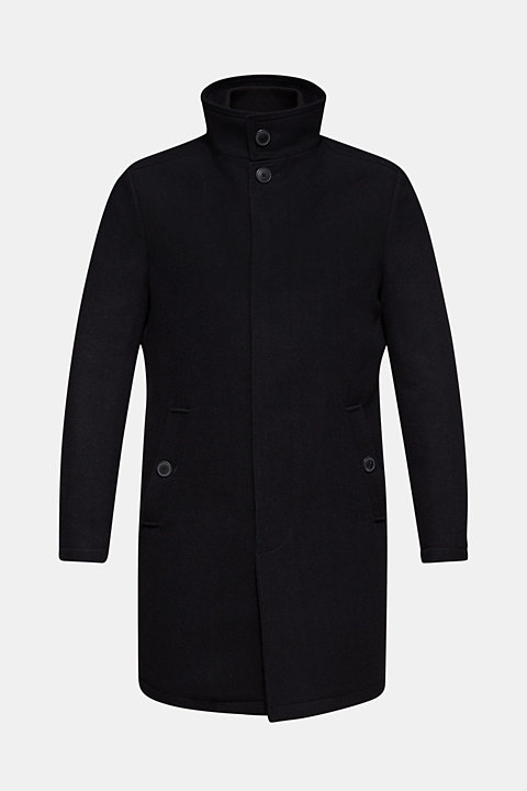 Blended wool: coat with a quilted insert