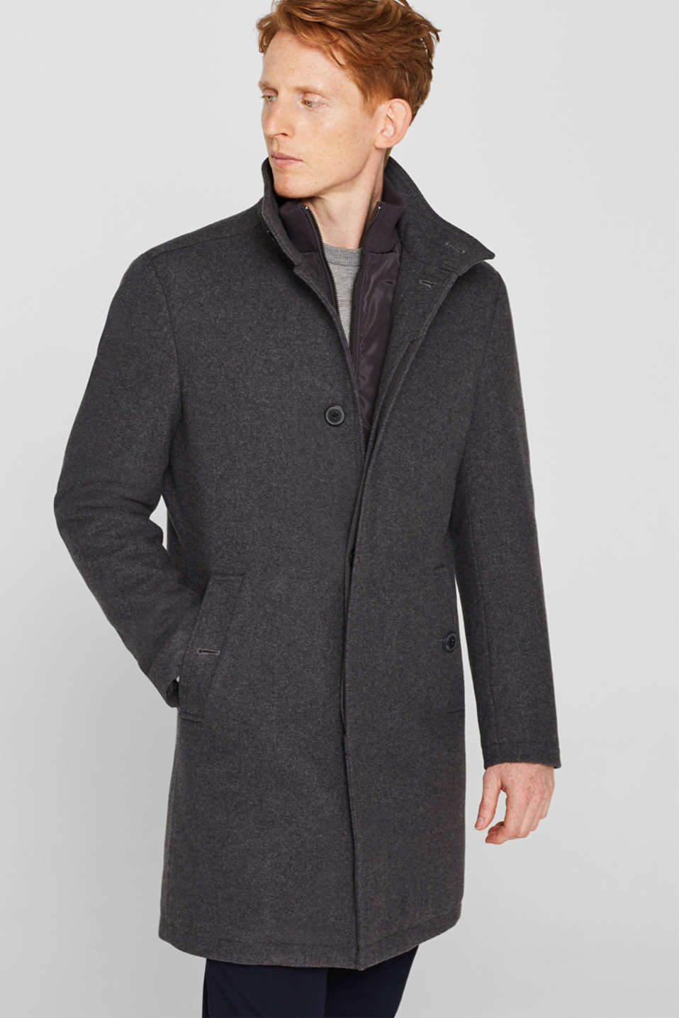 Esprit - Blended wool: coat with a quilted insert