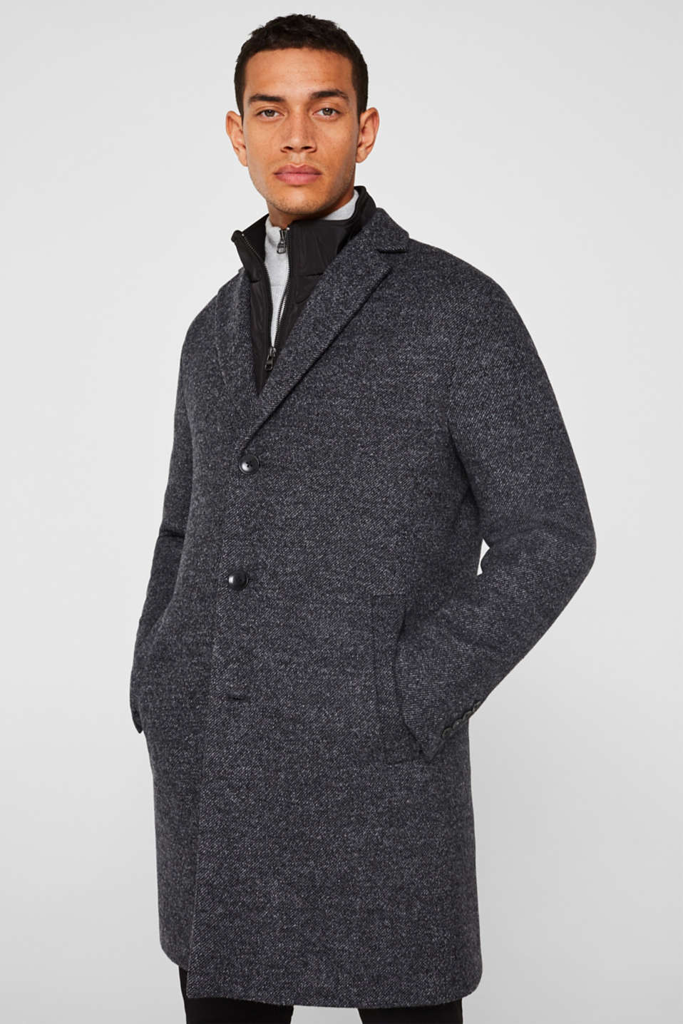 Wool blend: coat with a quilted insert, DARK GREY, detail image number 0