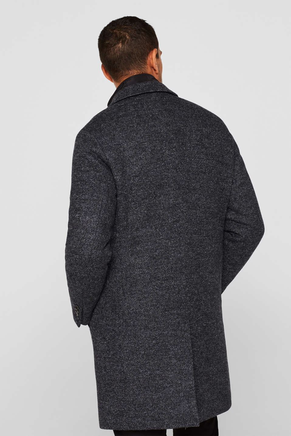 Wool blend: coat with a quilted insert, DARK GREY, detail image number 3