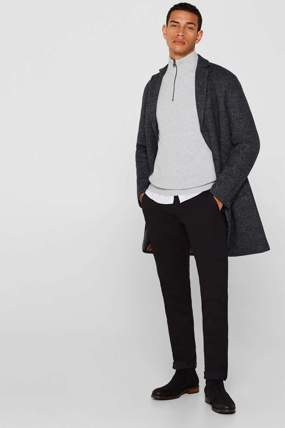 Wool blend: coat with a quilted insert, DARK GREY, detail image number 1