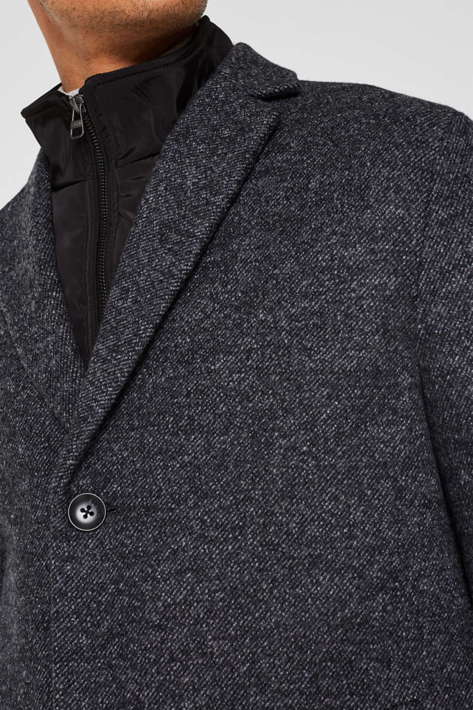 Wool blend: coat with a quilted insert, DARK GREY, detail image number 2