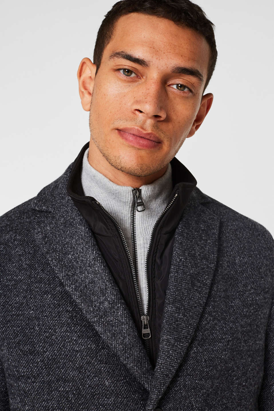 Wool blend: coat with a quilted insert, DARK GREY, detail image number 5