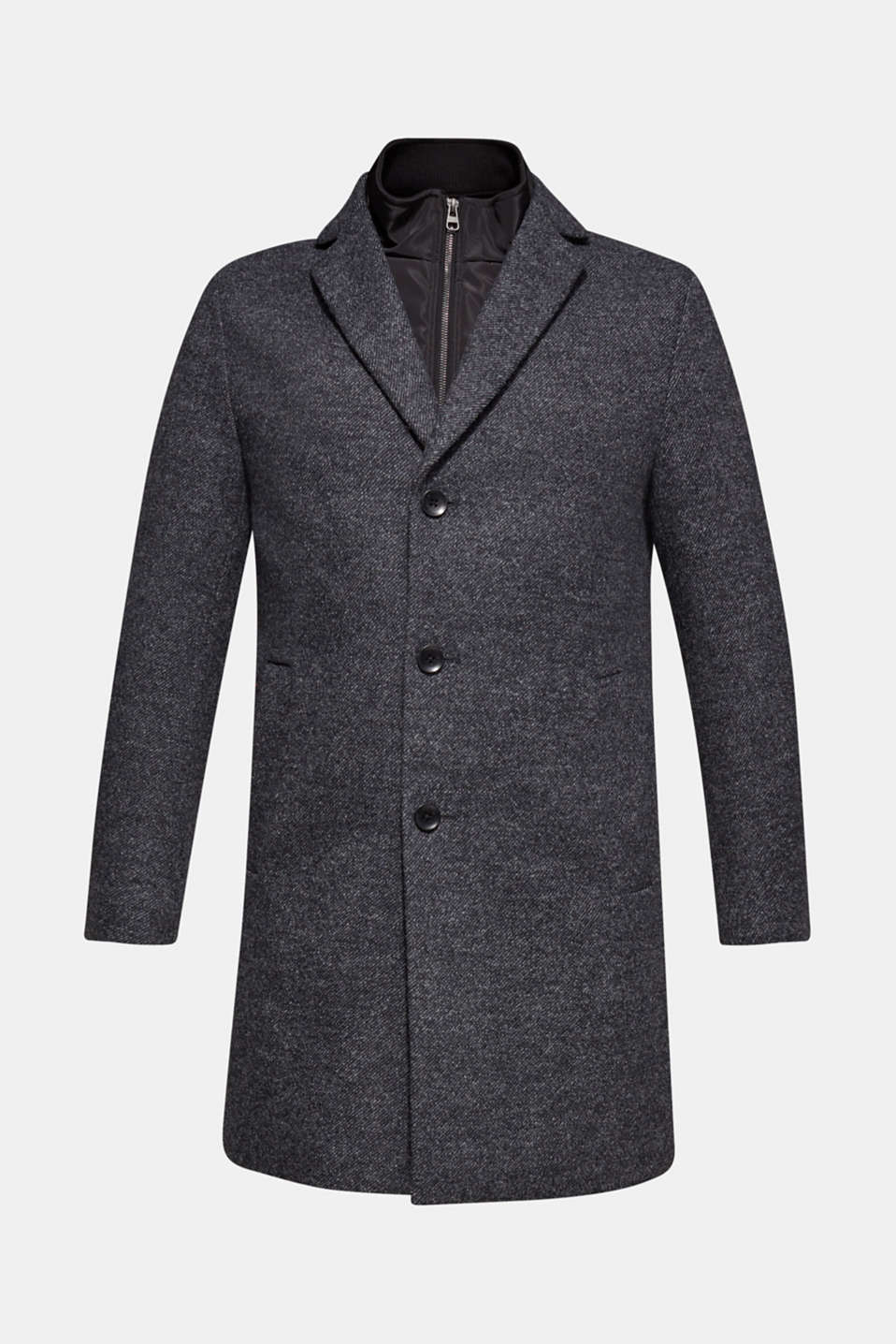 Wool blend: coat with a quilted insert, DARK GREY, detail image number 7