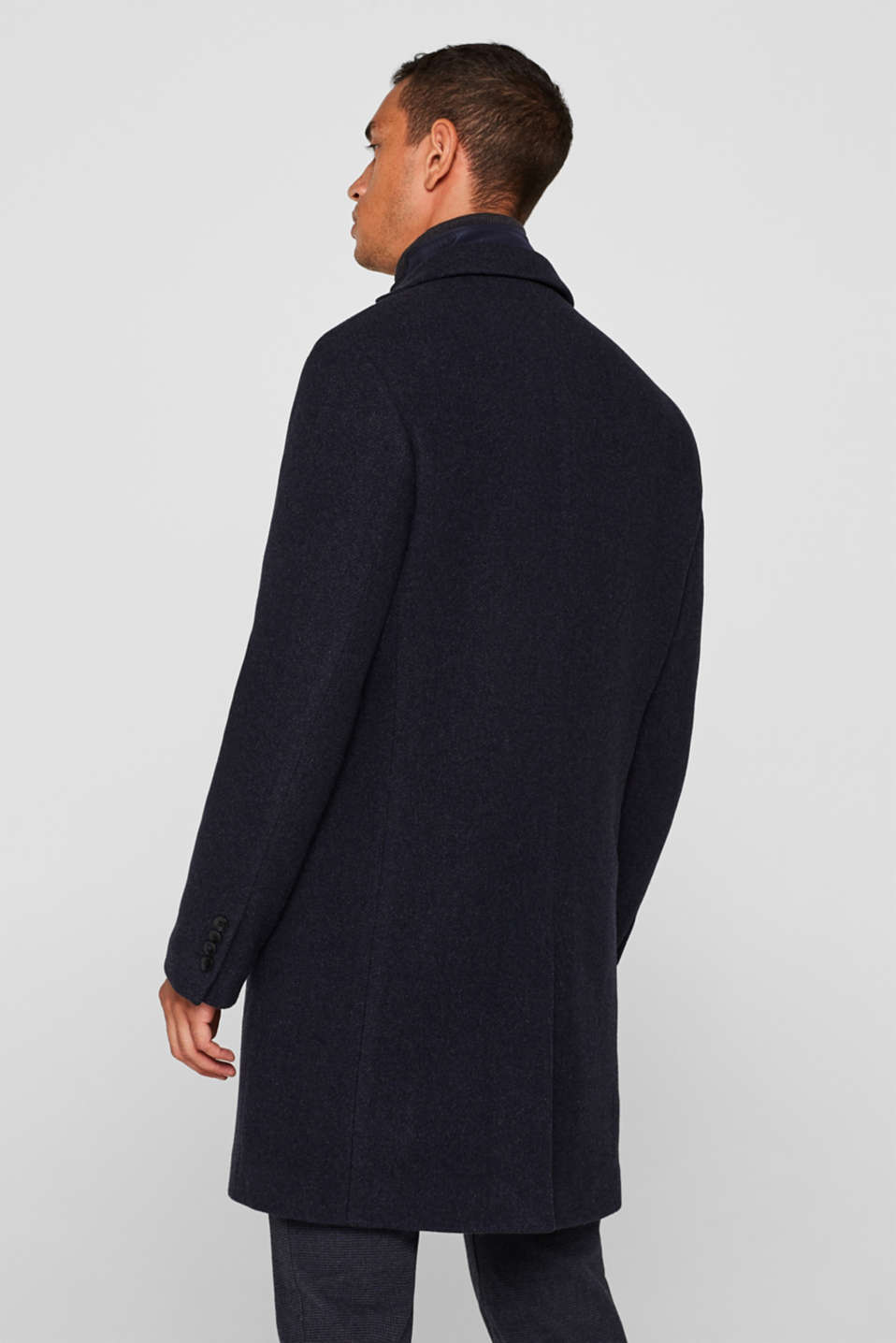 Blended wool: coat with a quilted insert, DARK BLUE, detail image number 3