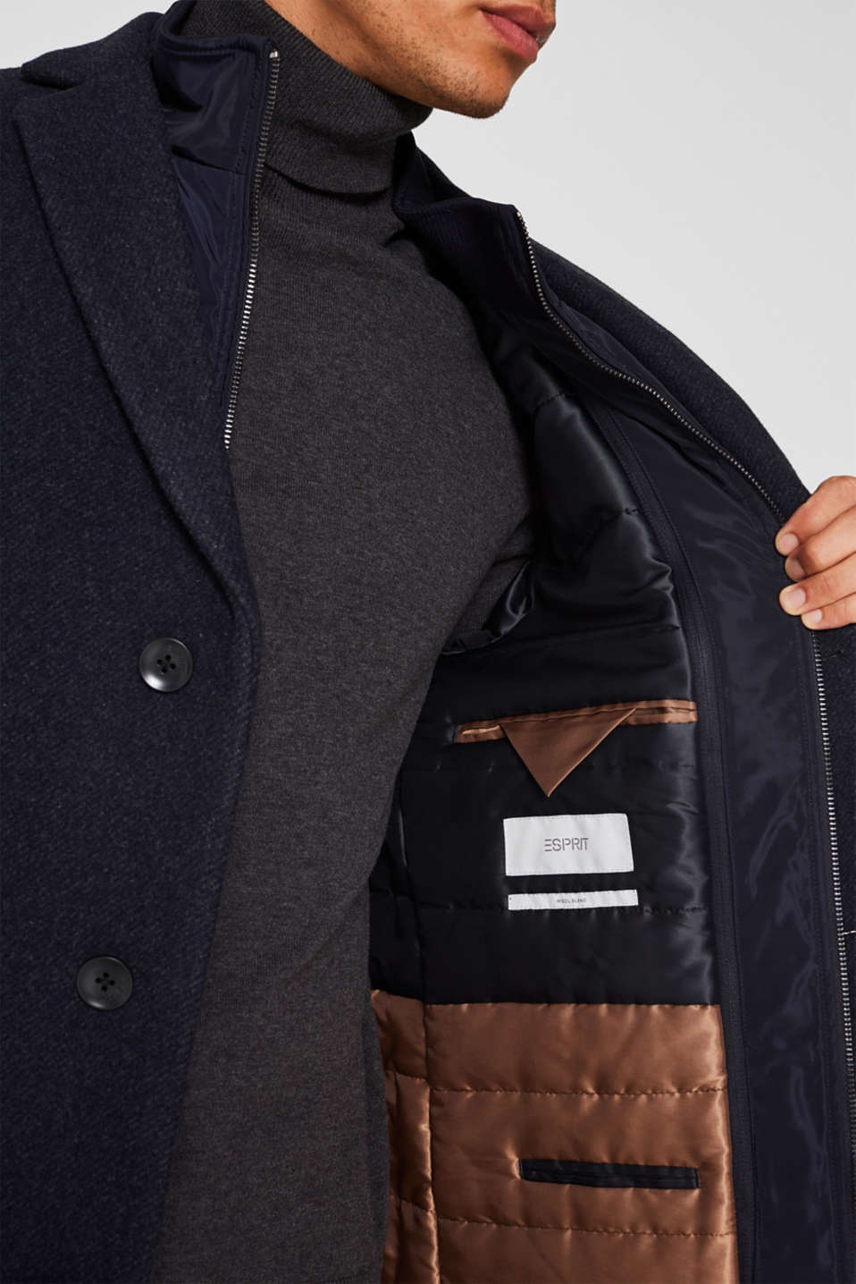 Blended wool: coat with a quilted insert, DARK BLUE, detail image number 4