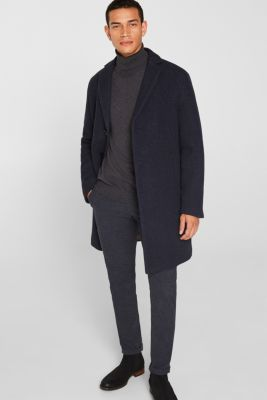 Blended wool: coat with a quilted insert, DARK BLUE, detail