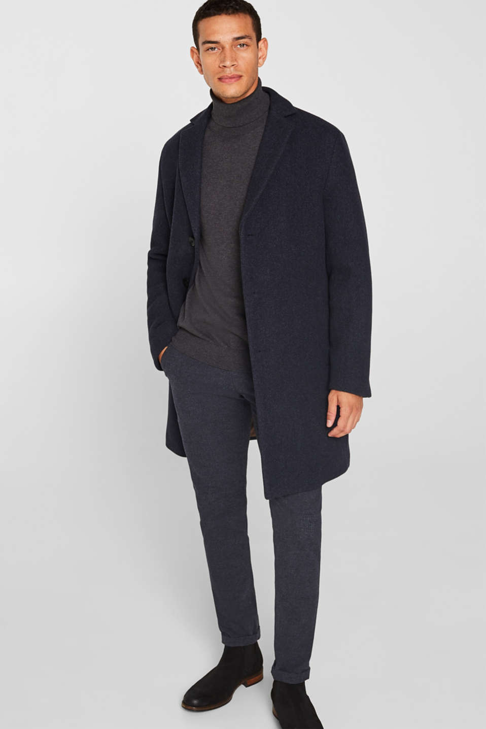 Blended wool: coat with a quilted insert, DARK BLUE, detail image number 1