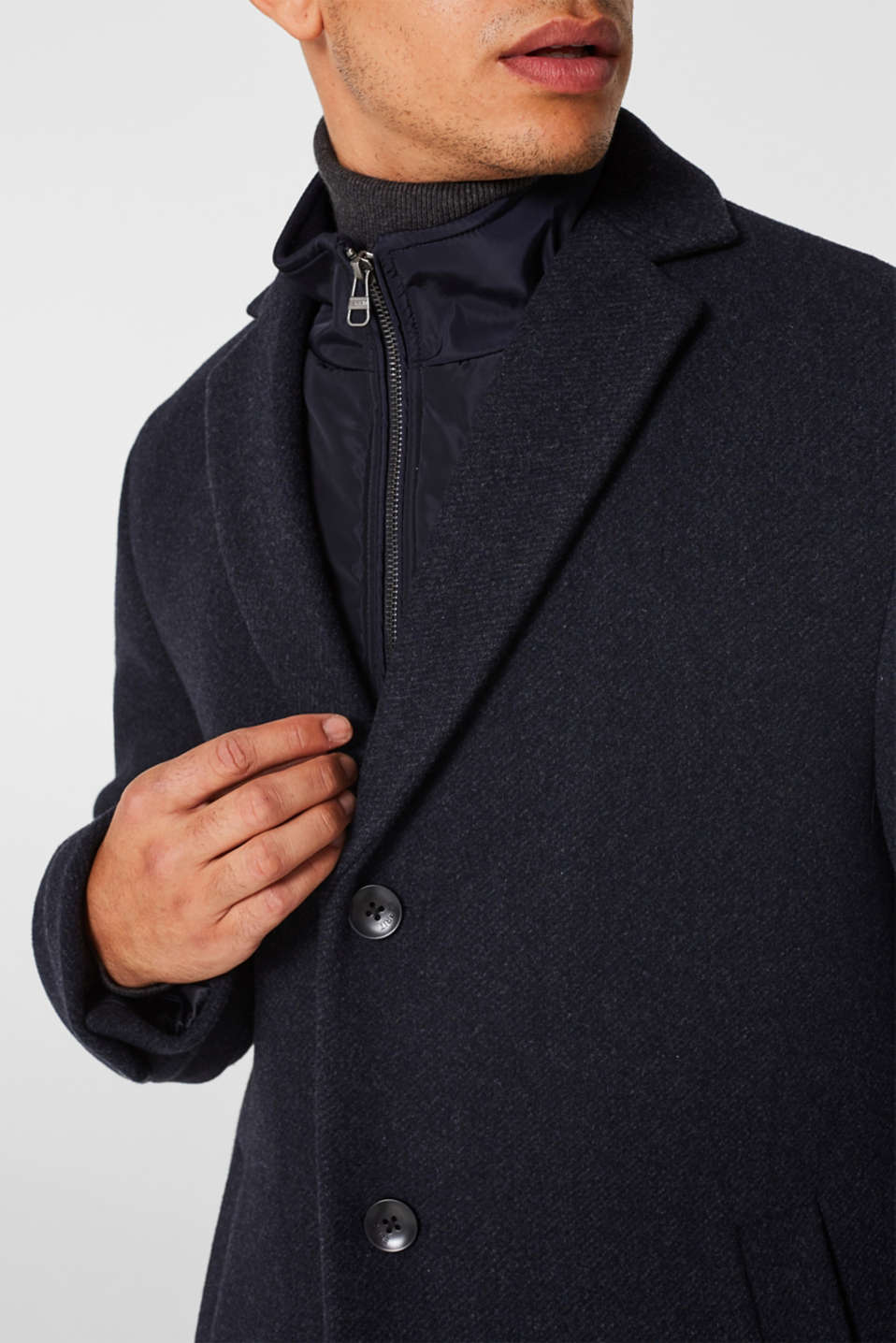Blended wool: coat with a quilted insert, DARK BLUE, detail image number 2