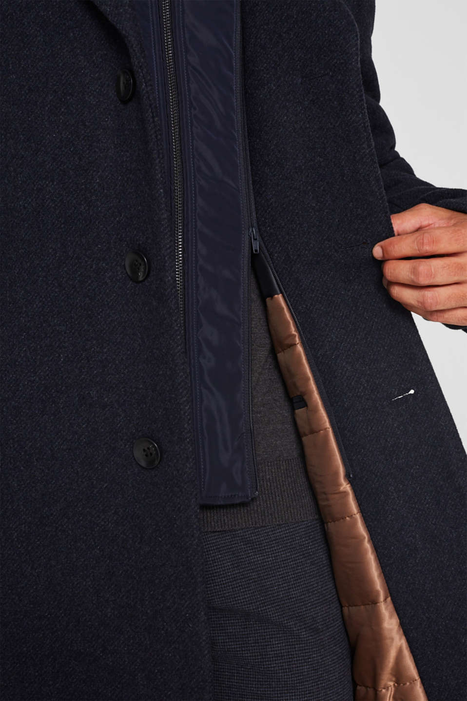 Blended wool: coat with a quilted insert, DARK BLUE, detail image number 7