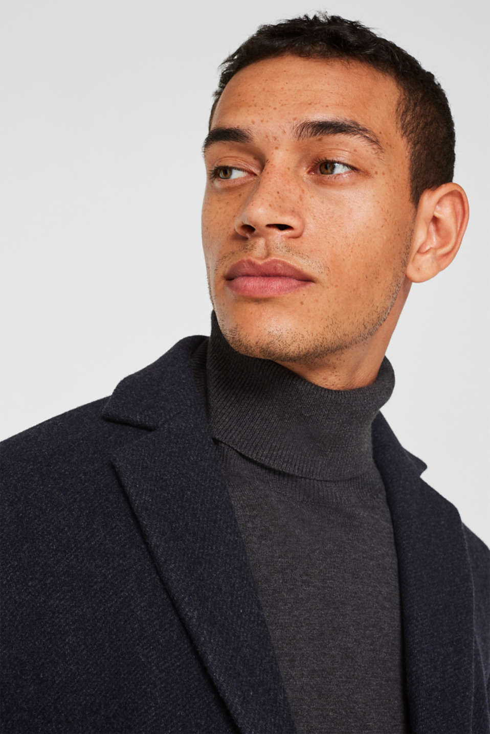 Blended wool: coat with a quilted insert, DARK BLUE, detail image number 6