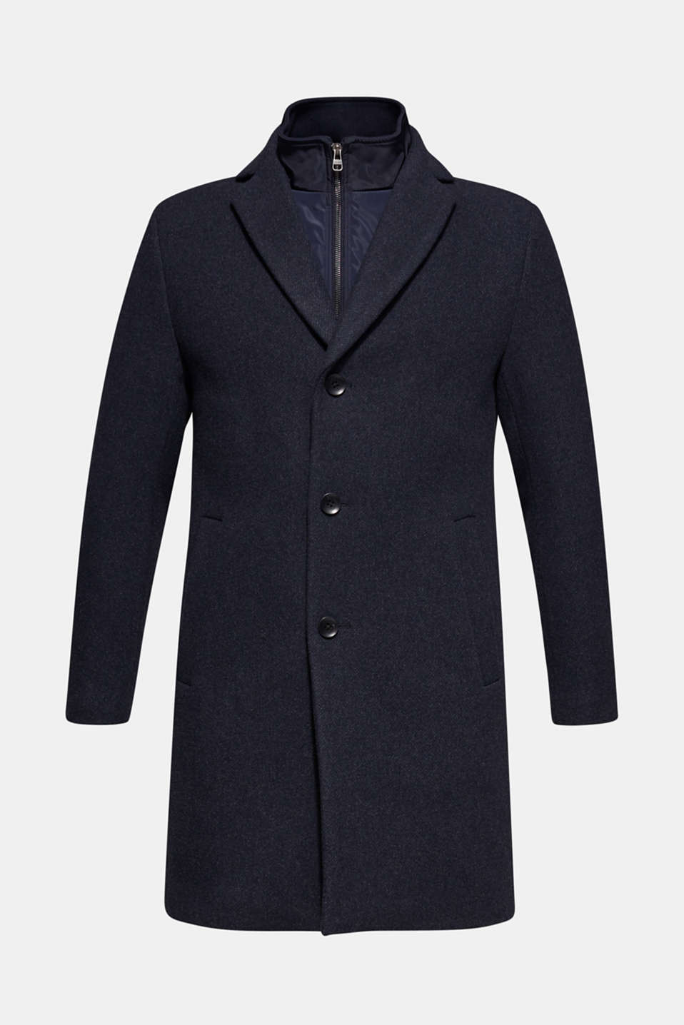 Blended wool: coat with a quilted insert, DARK BLUE, detail image number 8