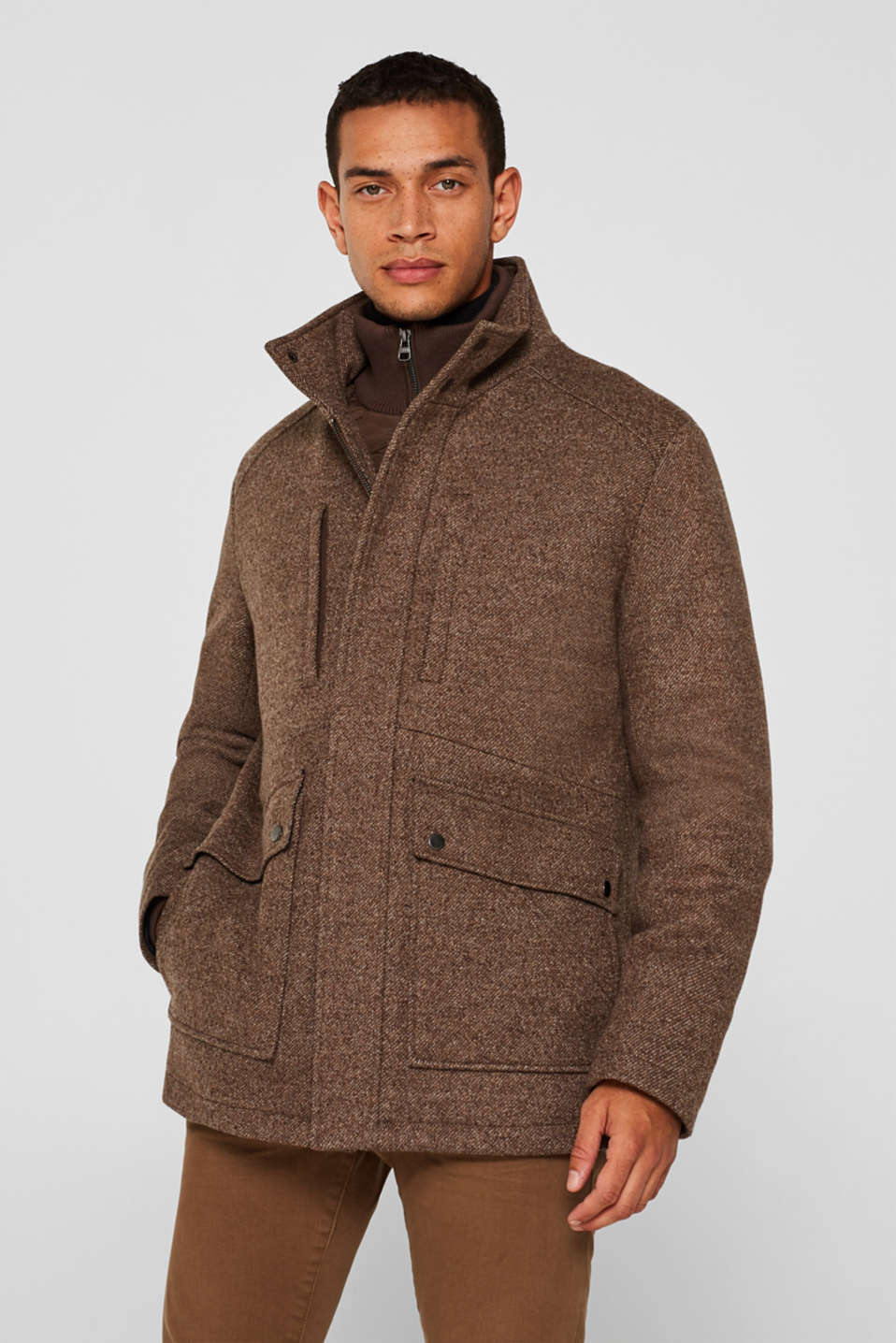 Wool blend: coat with a quilted insert, CAMEL, detail image number 0