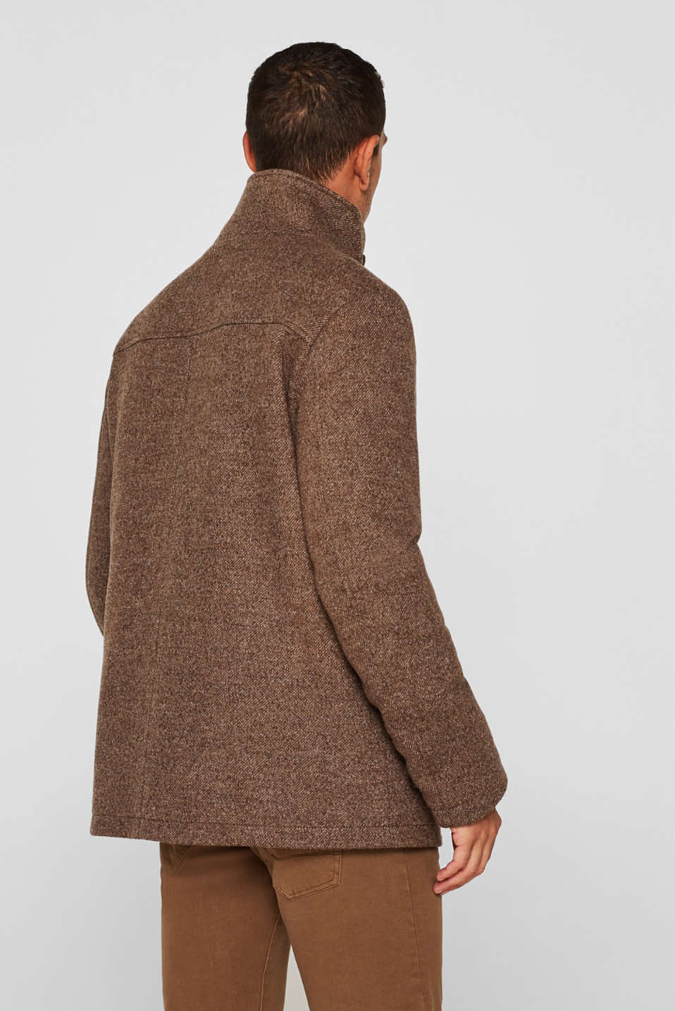 Wool blend: coat with a quilted insert, CAMEL, detail image number 3