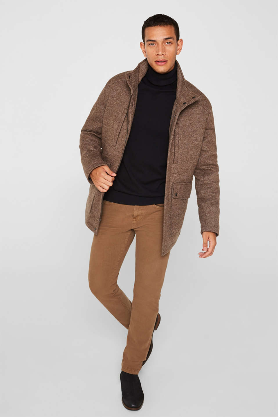 Wool blend: coat with a quilted insert, CAMEL, detail