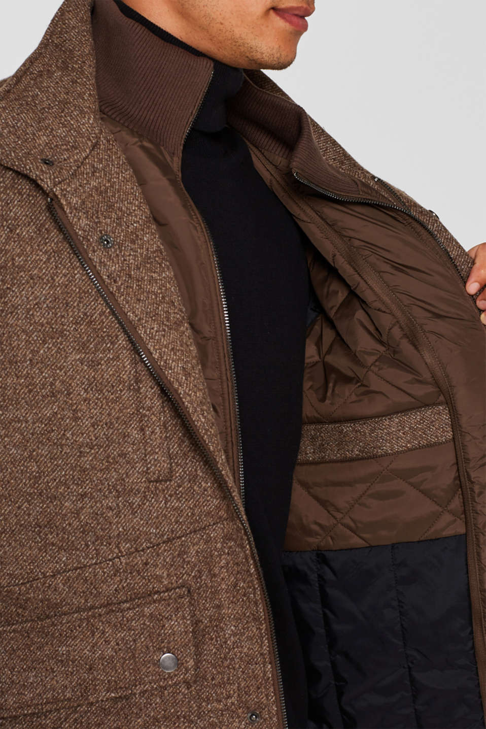 Wool blend: coat with a quilted insert, CAMEL, detail image number 2