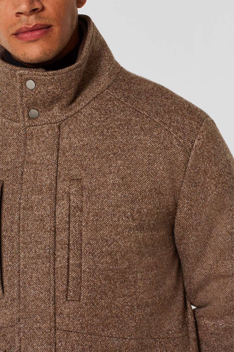 Wool blend: coat with a quilted insert, CAMEL, detail image number 6