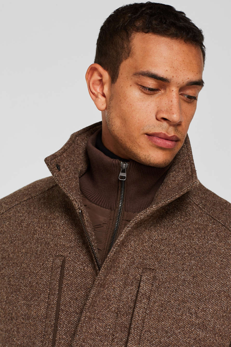 Wool blend: coat with a quilted insert, CAMEL, detail image number 5